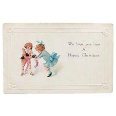 Antique GIRL & DOLL with Boy Christmas Postcard Circa 1916