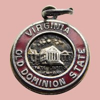 Sterling & Enamel VIRGINIA Vintage Estate Charm - State Souvenir