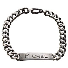 "800 Silver MICHEL Vintage Man's Bracelet - 8 3/8"" - Mid Century"