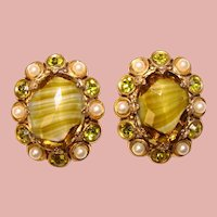 Fabulous West Germany Peridot Green Glass & Rhinestone Vintage Clip Earrings