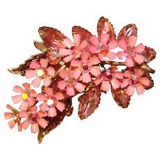 Fabulous PINK ENAMEL Flower Clusters Vintage Rhinestone Brooch