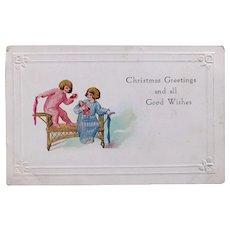 Antique Pajama GIRLS & DOLL Christmas Postcard