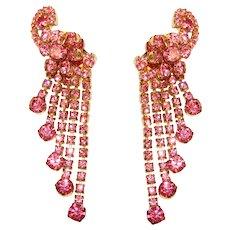 Fabulous D&E JULIANA Pink Rhinestone Vintage Dangle Earrings