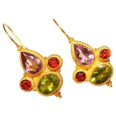 Gorgeous STERLING Colored Stones Lever Back Earrings