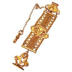 Fabulous Ornate Antique WATCH CHAIN Vest Clip Fob Chain