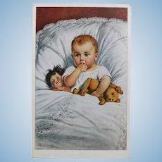 Antique Baby GIRL & DOLL with Teddy Bear Postcard
