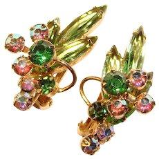 Fabulous D&E JULIANA Vintage Green & Aurora Clip Earrings