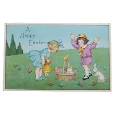 Antique GIRL & DOLL Easter Postcard - With Boy Bunny Rabbit and Chicks