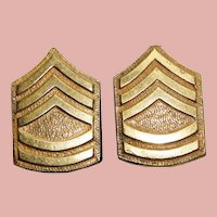 WWII 1940s Sterling Army Sergeant Stripes Earrings - Vintage Military Sweetheart - Screw Backs - Home Front