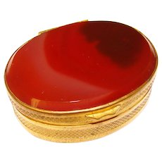 Fabulous Antique AGATE and Brass Snuff or Trinket Box