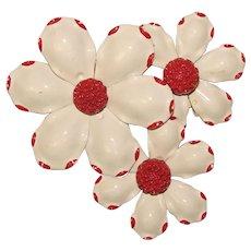 Fabulous 1960's Flower Power White & Red Enameled Flower Cluster Brooch