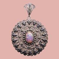 Fabulous 800 SILVER FILIGREE Simulated Opal Glass Huge Vintage Estate Pendant - Egyptian Hallmarked