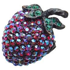 Small WEISS Strawberry Red Aurora Pave Rhinestone Vintage Brooch