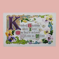 Antique KINDEST GREETINGS Estate Motto Postcard
