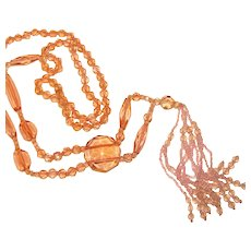 Fabulous Flapper Art Deco Pink Glass Beaded Vintage Necklace