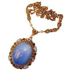 Fabulous West Germany BLUE Art Glass & Rhinestone Vintage Necklace