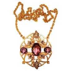Fabulous PURPLE Glass Stones Grape Design Pendant Necklace