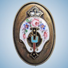 """Small Antique Enamel Mini Sash Pin Brooch - 1 1/8"""" by 3/4"""" For Doll or Lapel"""