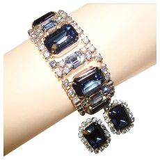 Fabulous Dark & Light BLUE Vintage Rhinestone Bracelet SET