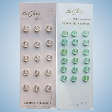 """Tiny 5/16"""" Vintage Buttons for Doll Projects - Light Mint Green & White on Original Cards"""