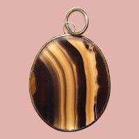 Fabulous STERLING & AGATE Large Vintage Pendant