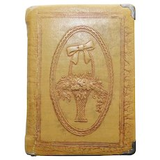 Book Shaped FLOWER BASKET Vintage Powder Compact - Beauty Hints by Zell - Signed Figural