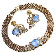 Gorgeous BLUE Satin Glass Rhinestone Vintage Bracelet & Earrings Set
