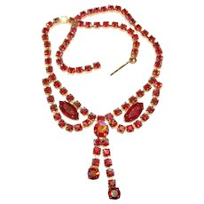 Fabulous RED AURORA Rhinestone Dangle Necklace