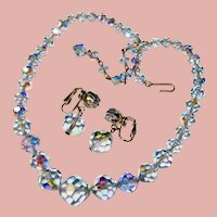 Fabulous BLUE AURORA CRYSTAL On Chain Vintage Necklace Set