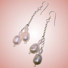 Gorgeous STERLING Fresh Water Pearl Dangle Earrings