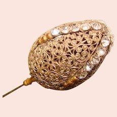 "Fabulous Antique EGG Shape Glass Stones Hat Pin – 9 ½"" Long"
