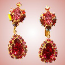 Fabulous PINK RED Aurora Rhinestone Vintage Dangle Earrings