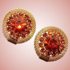 Gorgeous WEISS Signed Burnt Orange Vintage Rhinestone Clip Earrings