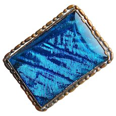 Gorgeous Antique Foil Simulated Butterfly Wing Brooch
