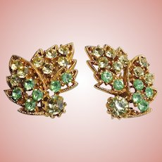 Gorgeous Green & Yellow Rhinestone Leaf Earrings