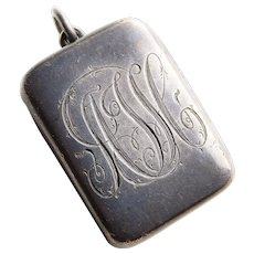Fabulous Antique Sterling Silver Box Shaped Locket - Hand Engraved Initials