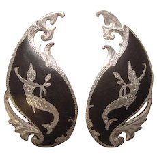 Fabulous STERLING Vintage Mermaid Goddess Siam Earrings