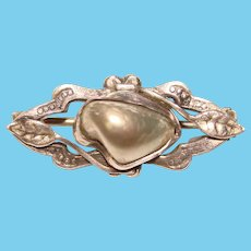 Small Antique ART NOUVEAU Blister Shell Sterling Brooch - For Lapel or Doll