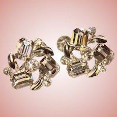Gorgeous LISNER Signed Clear Rhinestone Vintage Earrings