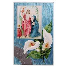 Antique JESUS & MARY Calla Lily Easter Postcard - Circa 1918