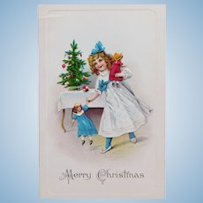Antique GIRL & DOLLS Christmas Postcard - By the Tree