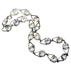 Fabulous ART DECO Clear Glass Open Back Stones Necklace
