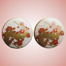 Gorgeous SATSUMA Hand Painted Floral Earrings - Screw Backs - Pottery Ceramic