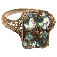 Fabulous STERLING Filigree Aqua Stones Ring
