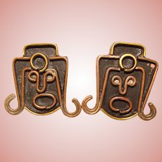Awesome MEXICO Abstract Face Design Vintage Earrings