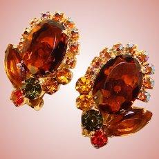 Fabulous D&E JULIANA Vintage Topaz Green Orange Rhinestone Clip Earrings