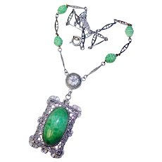 Fabulous ART DECO Green Glass Filigree Necklace