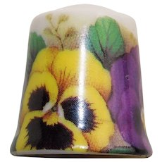Vintage PANSY Flower Porcelain Estate Thimble