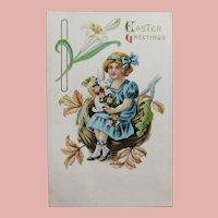 Antique GIRL & RABBIT on her Lap Easter Postcard - Circa 1914