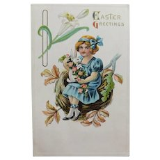 Antique GIRL & RABBIT on her Lap Easter Postcard - Circa 1914